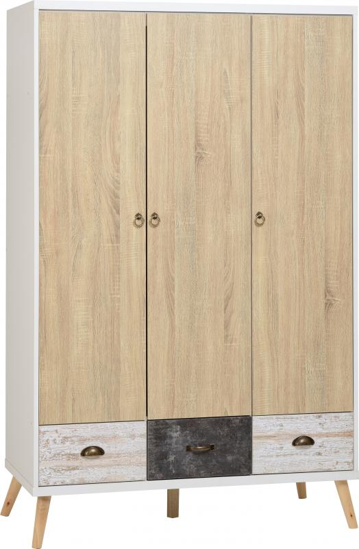 Nordic 3 Door 3 Drawer Wardrobe