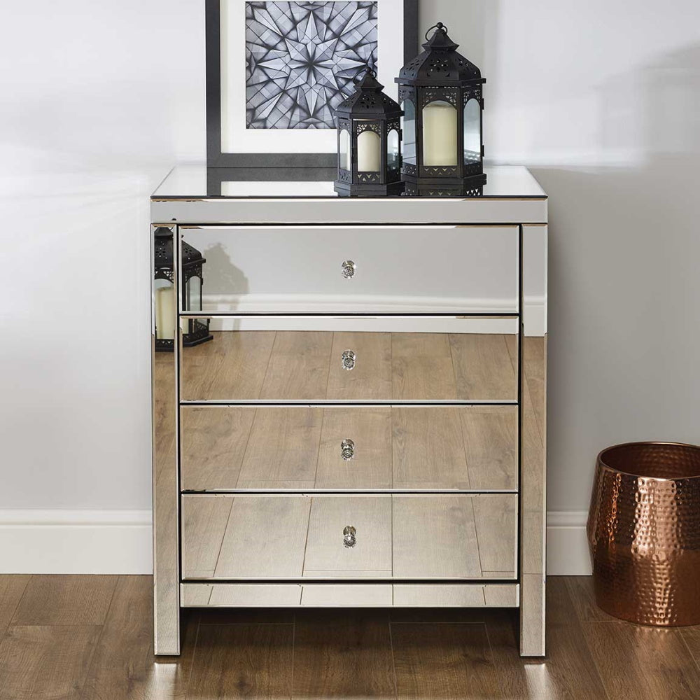 Seville 4 Drawer Mirrored Chest