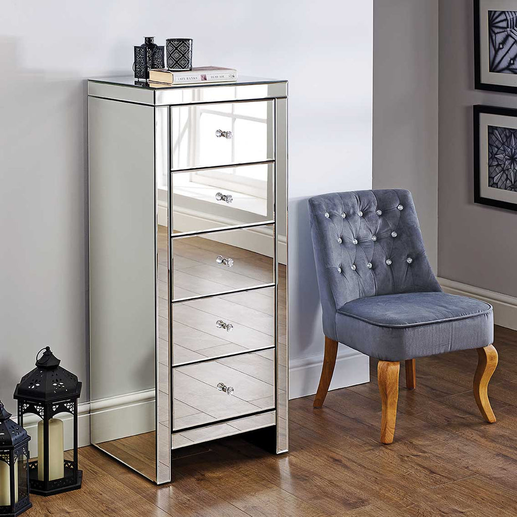 Seville 5 Drawer Narrow Mirrored Chest