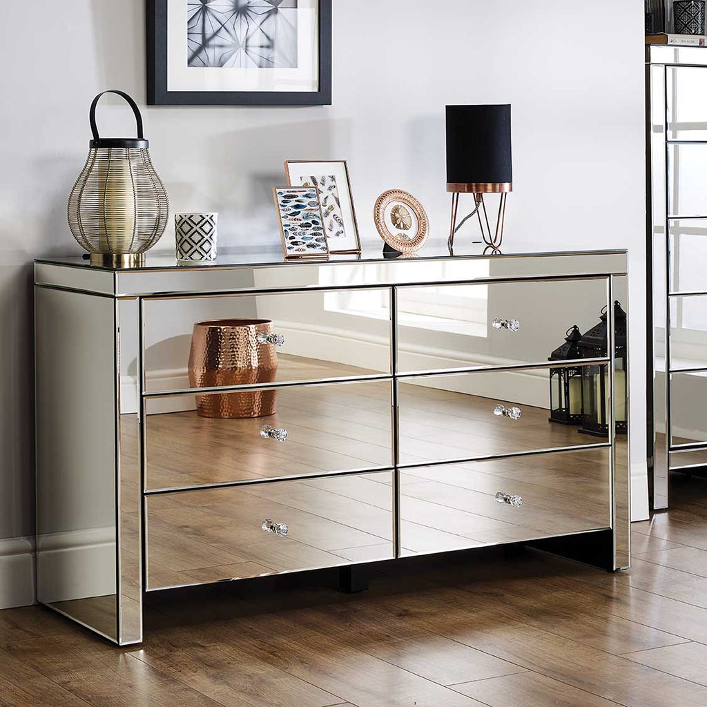 Seville 6 Drawer Mirrored Chest