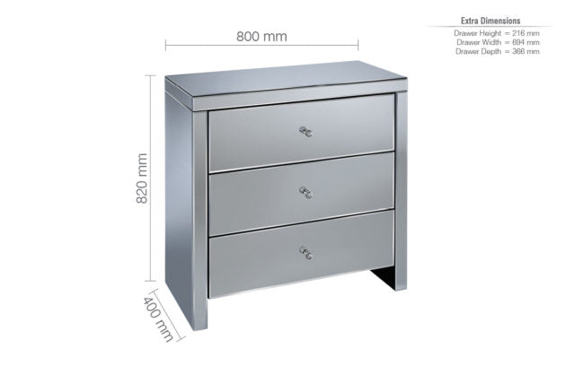 Seville 3 Drawer Mirrored Chest