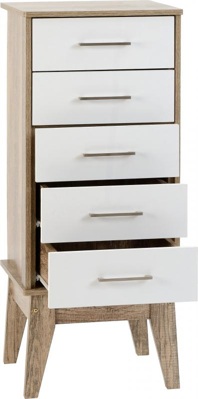 Stockholm 5 Drawer Narrow Chest