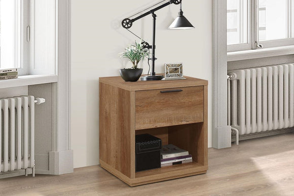 Stockwell 1 Drawer Bedside - Rustic Oak Effect