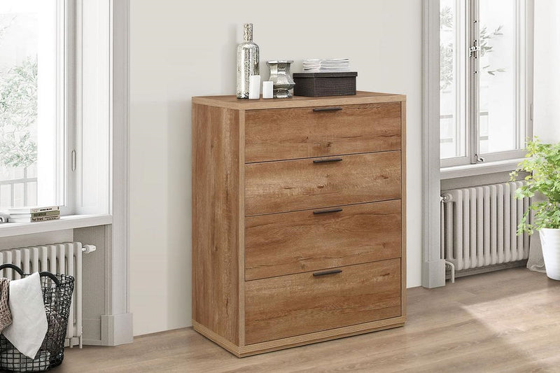 Stockwell 4 Drawer Chest - Rustic Oak Effect