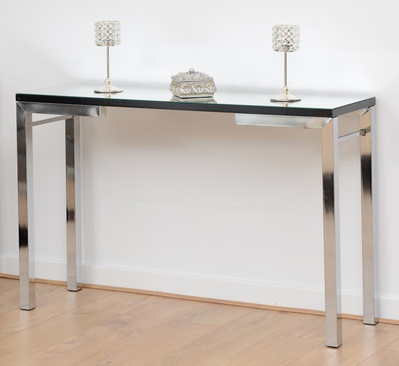 Valencia Console Table - Mirrored/Black Trim