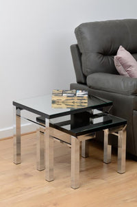 Valencia Nest of Tables - Mirrored/Black Trim