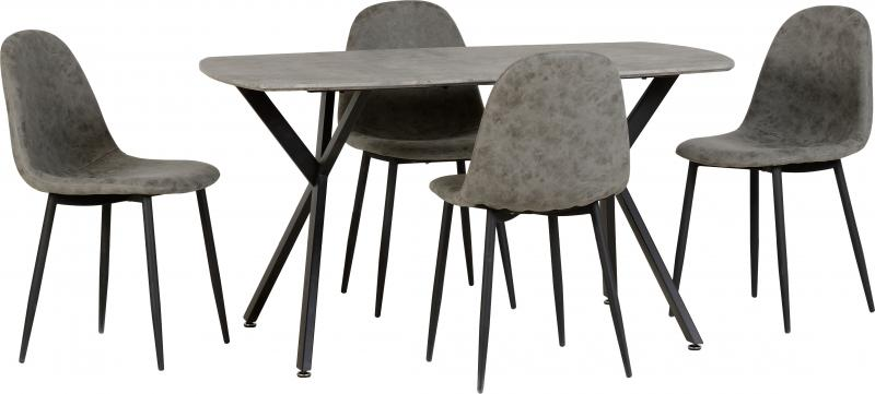 Athens Dining Set in Concrete Effect/Grey Faux Leather