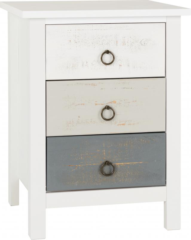 Vermont 3 Drawer Bedside - White/Grey