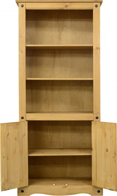 Corona 2 Door Display Unit/Bookcase - Distressed Waxed Pine