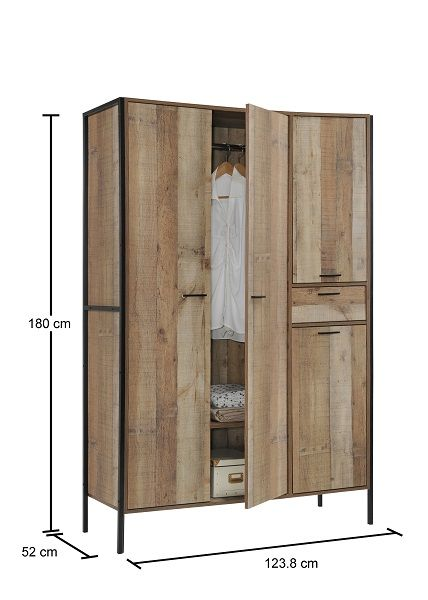 Stretton 3 Piece Bedroom Set - 4 Door Wardrobe