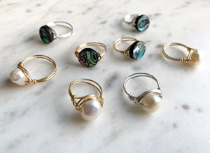 Pearl Wrapped Ring and Abalone Wire Wrapped Ring