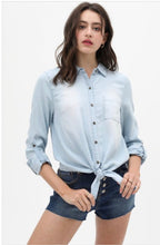 Load image into Gallery viewer, Vintage Distressed Adjustable Tie Waist Long Sleeve Denim Button Down