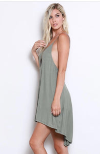 Hi-Lo Hem Slip Dress in sage green
