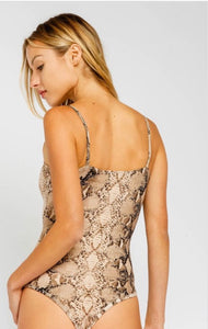 Snakeskin thong body suit