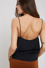 Load image into Gallery viewer, Black Spaghetti Strap Slip Tank Silk V Neck Cami