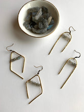 Load image into Gallery viewer, Hammered Labradorite Bar Earring