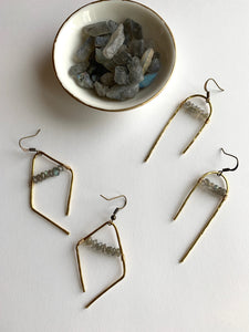 Hammered Labradorite Bar Earring