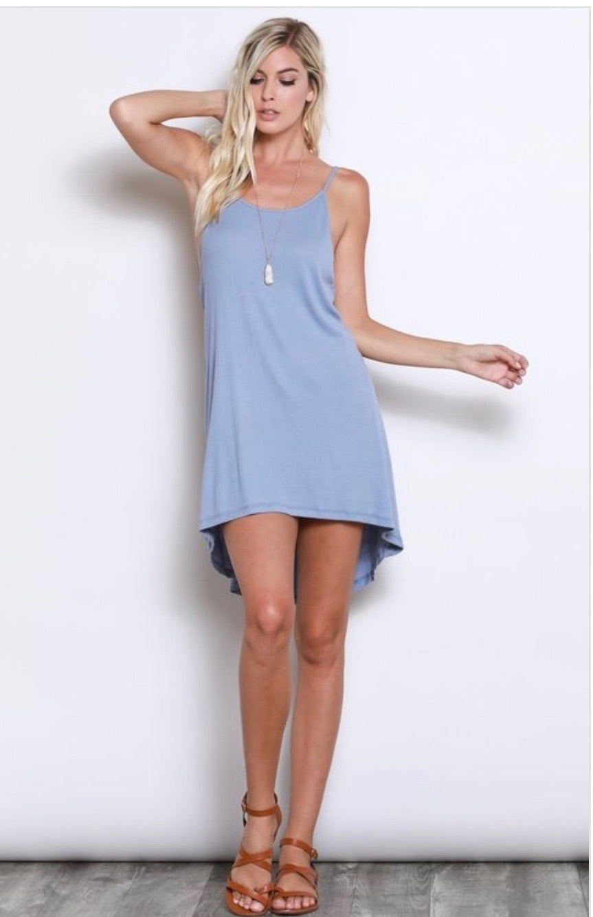 Hi-Lo Hem Slip Dress in powder blue