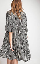 Load image into Gallery viewer, Tribal Print Black and White Swing Dress