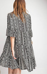 Tribal Print Black and White Swing Dress