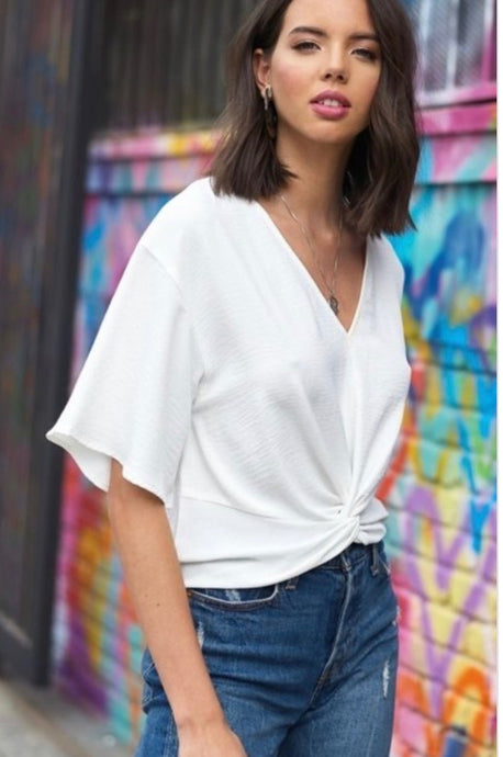 white twist front v-neck top with flowy sleeves