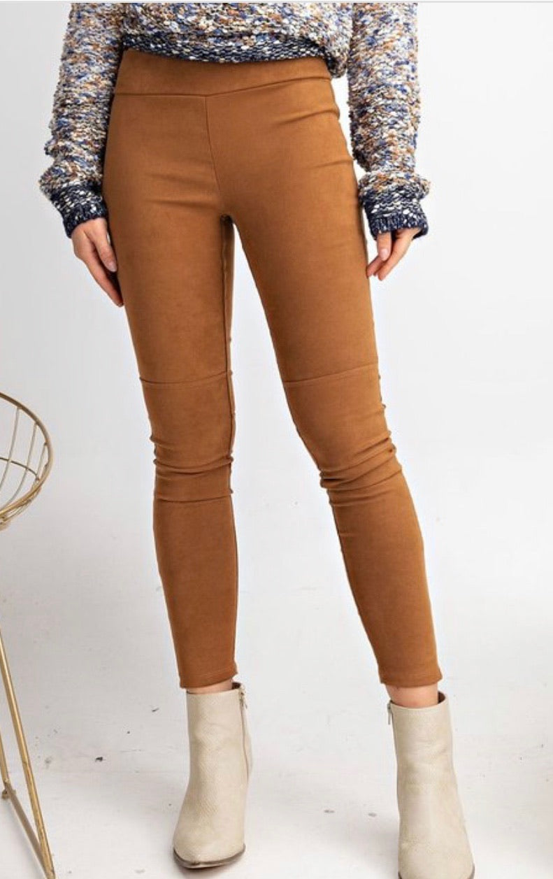 burnt orange suede moto knit leggings