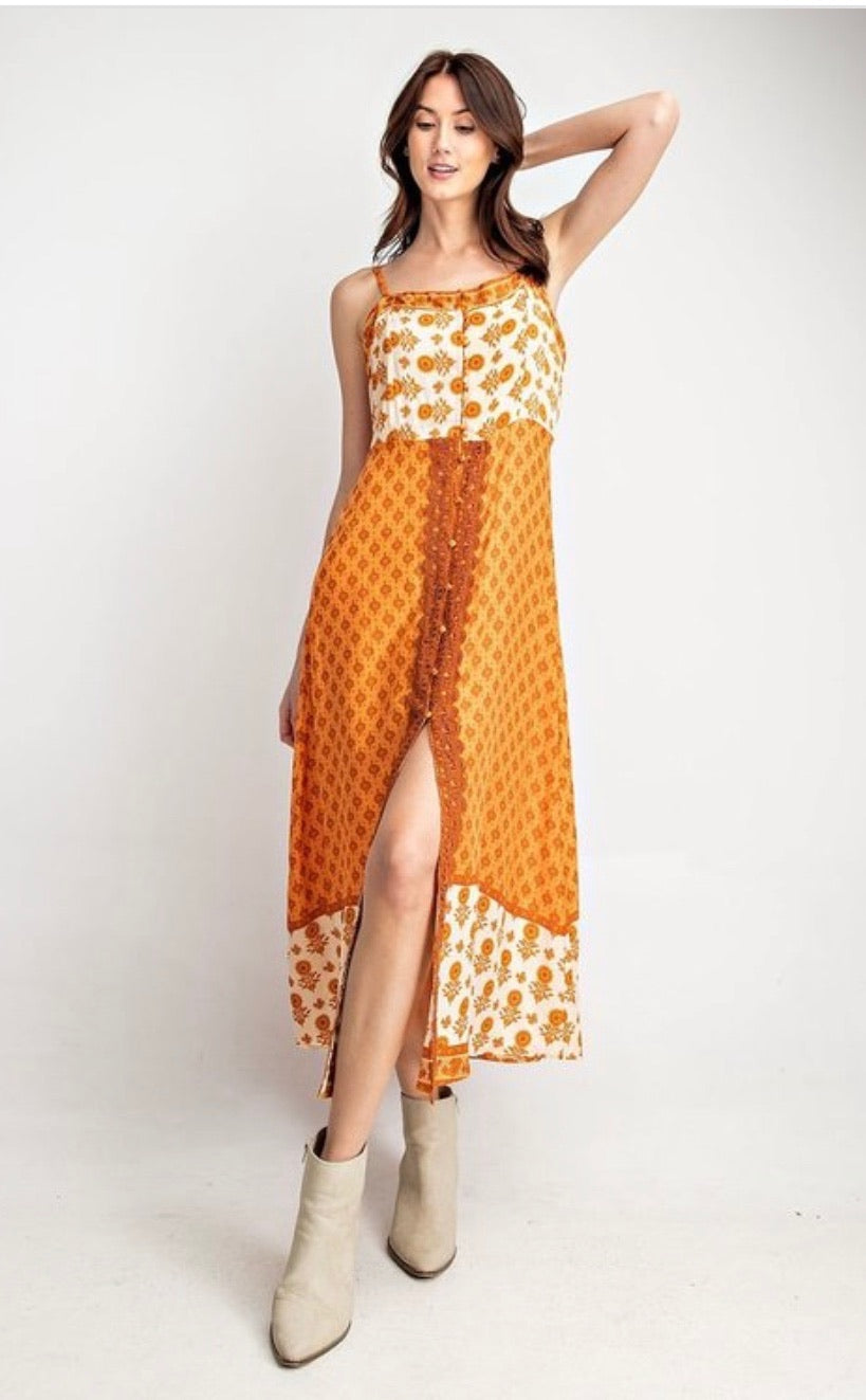 Boho Orange and White Floral Maxi Dress