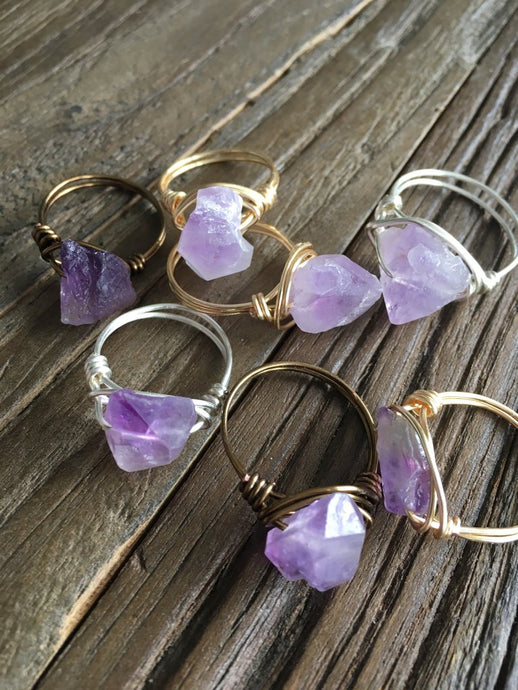 Raw Amethyst Wire Wrapped Rings