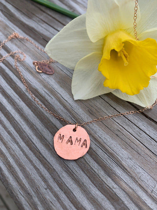 Hand Hammered MAMA necklace in Rose Gold