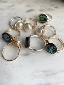 Pearl Wire Wrapped Ring and Abalone Wire Wrapped Ring