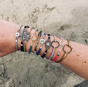 Layered Suede Charm Bracelets