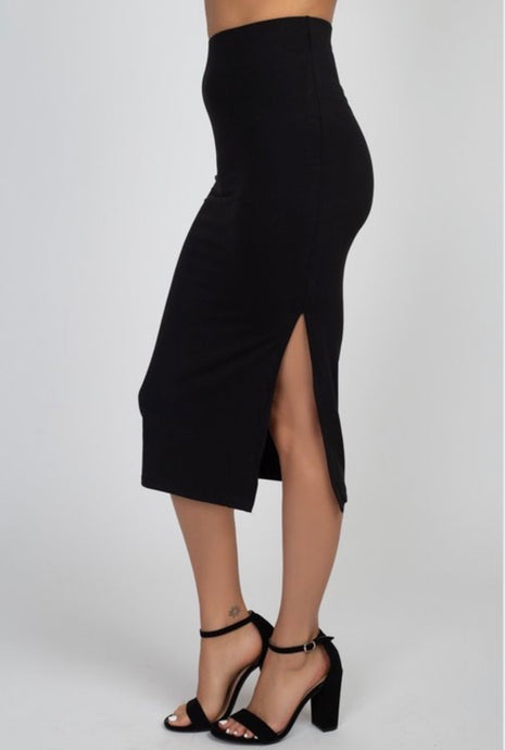 Black Stretch Mid-length Pencil Skirt with Slit