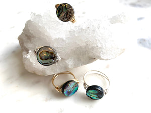 Abalone Wire Wrapped Ring