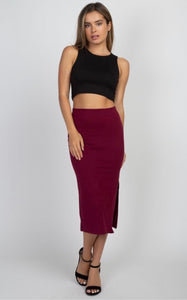 Maroon Stretch Mid-length Pencil Skirt with Slit