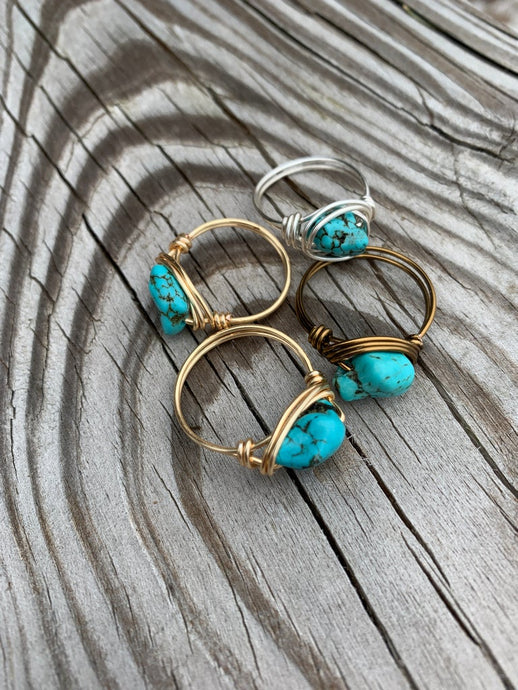 Turquoise Nugget Wire Wrapped Ring