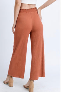 Boho Beach Pants - Wide Leg Crop Pants in Rust Orange