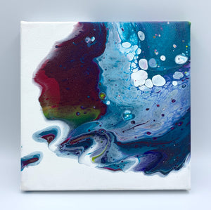 Hand poured acrylic abstract painting in jewel tones. B - 6x6""