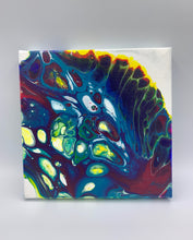 Load image into Gallery viewer, Hand poured acrylic abstract painting in jewel tones. A - 6x6""