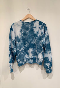 Shibori Indigo Dyed Slightly Cropped Sweatshirt
