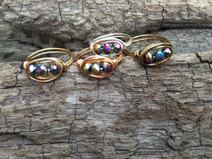 Triple Stone Wire Wrapped Rings