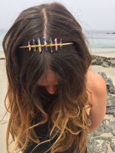 7 stone quartz crystal headband