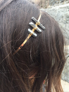 Three stone quartz crystal headband