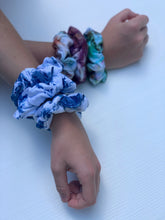 Load image into Gallery viewer, Shibori Indigo Dyed Scrunchie