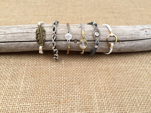Stackable Suede Bracelets with Assorted Charms