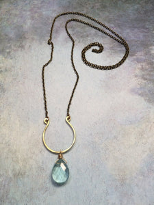 Hammered Horseshoe Long Necklace