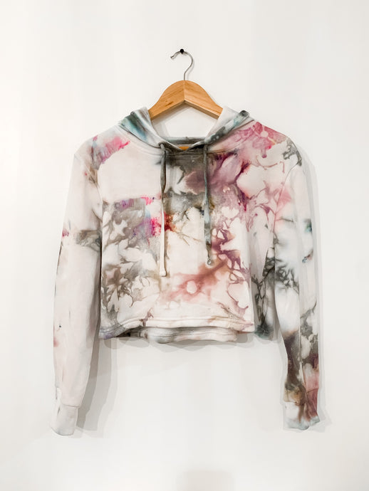 Ice Dyed Multi-Colored Crop Hoodie
