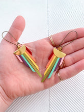 Load image into Gallery viewer, Rainbow Pride Graduated Suede Fan Earring