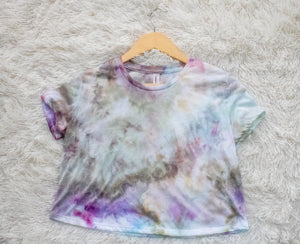 Ice Dyed Multi-Colored Crop Tee