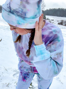 Ice Dyed Multi-Colored Slightly Cropped Sweatshirt