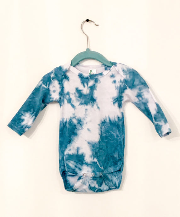 Long Sleeved Shibori Indigo Dyed Baby Onesie